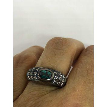 Vintage Handmade Genuine Dark Blue Flourite and white sapphire  925 Sterling Silver Deco Ring