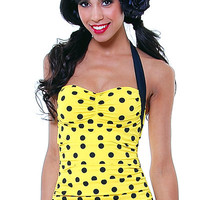 Vintage Inspired 50's Style Pin Up Yellow With Black Polka Dot Bathing Suit - Unique Vintage - Cocktail, Pinup, Holiday & Prom Dresses.