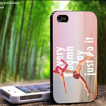 Nike Quote Every Damn Day Just Do It Pink Beach Running Girl Design For iPhone 5 / 4 / 4S - Samsung Galaxy S3 / S4 ( Black / White case )