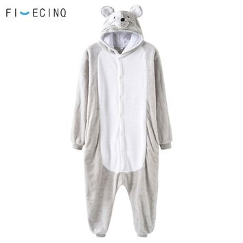 Animal Mouse Cosplay Costume Adult Men Women Gray Suit Soft Warm Flannel Holiday Games Show Outfit Funny Sleepwear Pajama Fancy