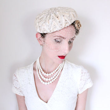 1950's Hat,VINTAGE, Fascinator, Ivory, Cream, BRIDAL, Birdcage Veil, Sequins, SWEET