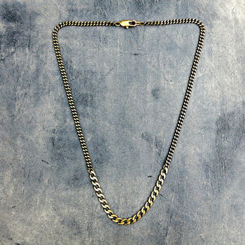 Oxidized Brass Chain Necklace, Urban Necklace, Boho Jewelry, Edgy Necklace, Industrial Necklace, Simple Chain, Layering Necklace, Gunmetal