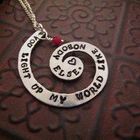 One Direction Necklace Hand Stamped Necklace You Light Up My World Like Nobody Else