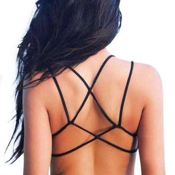 Bralette Halter Sexy Bralet Strappy Bra Camis Backless Short Tanks Top Women Bustier Beach Crop Tops Women