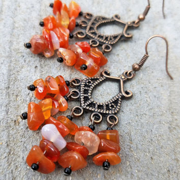 Carnelian Chandelier Earrings, Antique Copper Orange Carnelian Earring, Gypsy Earring, Stone Dangle Earring, Boho Earring, Chip Bead Earring