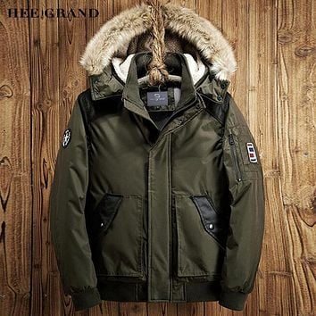 HEE GRAND Men Casual Parkas 2017 New Arrival Solid Color Warm Padded With Fur Hat Autumn Winter Loose Coat Size M-XXL MWM1660