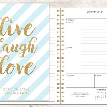 2015 planner | 2015-2016 calendar | custom weekly student planner | personalized planner agenda daytimer | blue stripes live laugh love