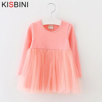 KISBINI Full Sleeve Baby Dress 2017 Cotton Birthday Dress Casual Solid Baby Girl Clothes Draped Princes Ball Gown Kid Clothes