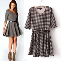 Houndstooth Half Sleeve A-line Mini Skater Dress With Belt