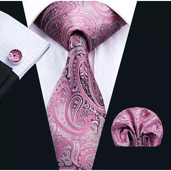 Men's Silk Coordinated Tie Set - Purple Pink Paisley
