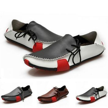Fashion Casual Genuine Leather Lazy Flats Driver Breathable Shoes For Men Loafers