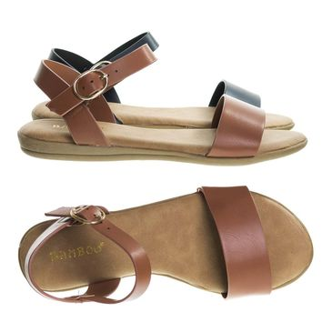 Tamber02 Tan by Bamboo, Two Piece Flat Sandal w Comfortable Foam Padded Insole. Women Open Toe