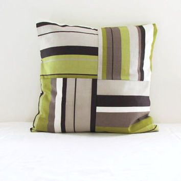 16 inch patchwork cushion pillow cover in Romo Anoko fabric, lime green with chocolate brown and beige stripes, limited edition