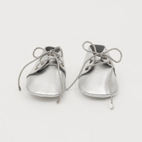 Lace-Up Leather Baby Moccasins Silver