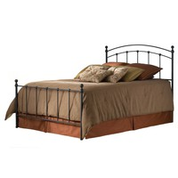 Queen Size Metal Bed With Headboard & Footboard In Matte Black