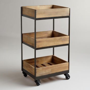 3-Shelf Wooden Gavin Rolling Cart - World Market