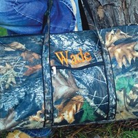 21 Inch Monogrammed Real Tree Camo Duffle Bag With Shoulder Strap