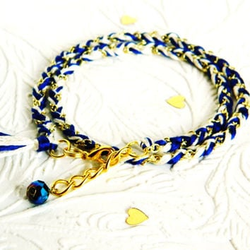 Royal Blue & Neutral Swirl - Adjustable Double Wrap Braided Modern Friendship Bracelet