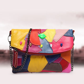 Fashion Leather Mini Chain Patchwork One Shoulder Bags [6580856775]