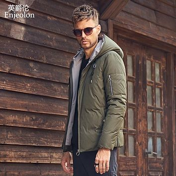 fashion thick winter down hooded jacket men light clothing black army green coat down parka