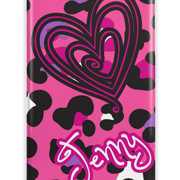 HEART AND CHEETAH PRINT - MONOGRAMMED PHONE CASE FOR GIRLS