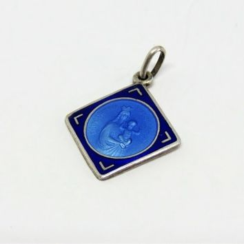 Vintage French, Blue Enamel And Silver, Notre Dame De Lagarde, Pendant, Medal.