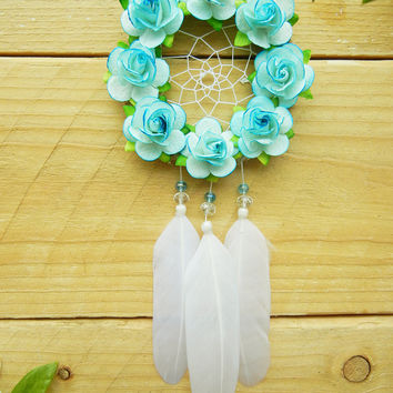 Baby Blue Flower Dreamcatcher: Car Dreamcatcher, Interior Car Accessory, Rearview Mirror Accessory, Car Decoration, Boho Dreamcatcher