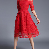 Lace Crochet Eblow Sleeve Dress -SheIn(Sheinside)