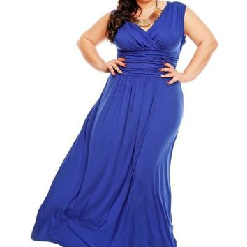 Dark Blue Ruffle Women's Plus Size Dress