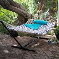 Cotton Rope 11-Ft Hammock with Metal Stand