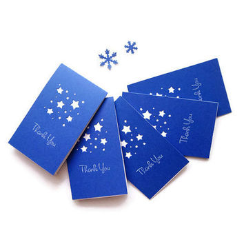 "2.5"" x 4.25"" Mini Thank you Card /Blue Thank you card / Handmade Thank you card/Simple Thank you card/ Starry night/ Blue stars/ Set of 8"