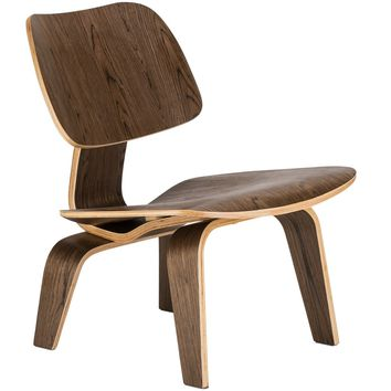 Isabella Mid-century Modern Classic Lounge Chair in Walnut