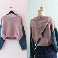 Students Korean version of short hooded denim patchwork Knitted pullover sweaters    mori girl