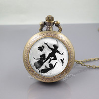 Peter Pan Pocket Watch Locket Necklace,Peter Pan with friends flying moon,vintage pendant Pocket Watch Locket Necklace