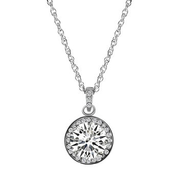 Big Round Zirconia Pendant Necklace