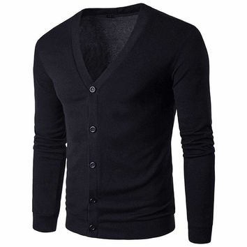 Mens Button V-Neck Sleeve Knit Sweater Cardigan
