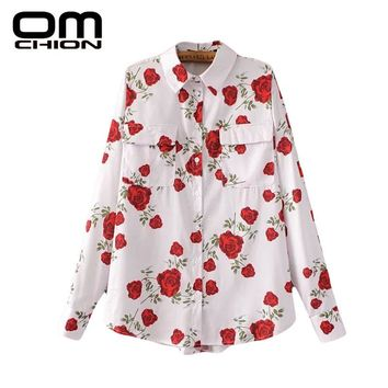 Spring New Rose Floral Printed Chiffon Blouse Turn-Down Collar Women Casual White Pocket Shirt