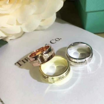There color Tiffany Letter T Two Womens Noble High 2018 New Serpenti ring AAAA diamond drill hollowed out 18 K gold