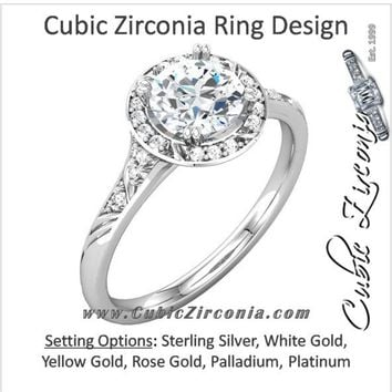 Cubic Zirconia Engagement Ring- The Shiela (1.18 TCW Round Halo-Style with Pave Band)