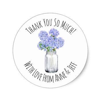Blue Hydrangea Flowers Personalized Thank You Classic Round Sticker