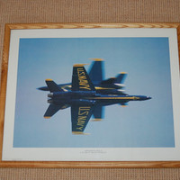 US Navy Blue Angels Opposing Solo Framed Fine Art Print, F/A-18 Fighter Jet Hornet Photo Poster, Blue Angels F-18 Flight Demonstration Team