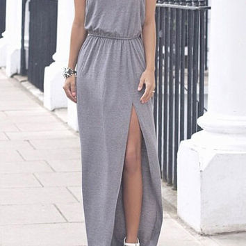 Gray V-neck Sleeveless Open Back Twist T-shaped  Evening Maxi Split Dress