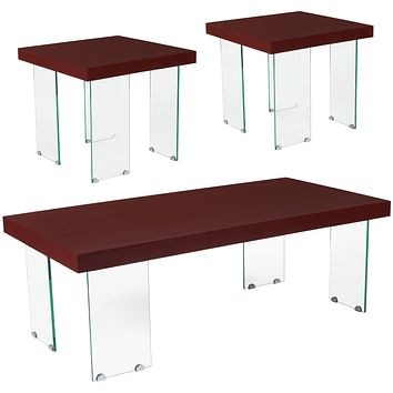 Forest Hills Collection 3 Piece Wood Grain Finish Table Set with Glass Legs