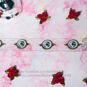 Clear round glass eyes bronze color cabochon light ivory vinyl transparent collar, choker. Cosplay halloween sexy punk rock eyes choker
