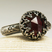 Sterling Silver Garnet Ring, Natural Gemstone, Red Birthstone, Handmade Custom Jewelry, made to order