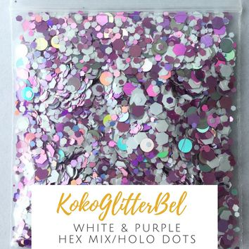 Holographic Glitter Hex- White & Purple