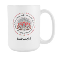 Namaste We Are One w/ Red Lotus Mandala Yoga Inspired * White 15oz. Coffee Mug