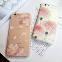 Exquisite fashionable carnation and Plum mobile phone case for iphone 6 6s 6plus 6s plus + Nice gift box!