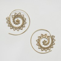 Reclaimed Vintage Inspired Ornate Spiral Hoop Earrings at asos.com