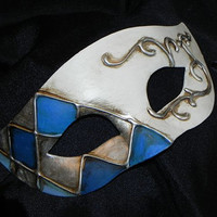 Men's Harlequin Mask in Shades of Blue and Ivory